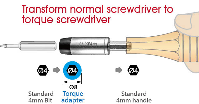 Transform normal screwdriver to torque adapter